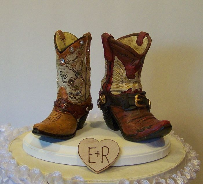 Western Shoe Wedding Cake Toppers