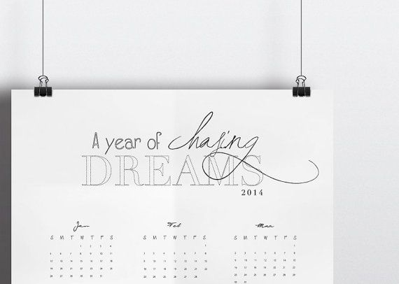 A3 Wall Calendar A Year Of Chasing Dreams www.vivianyeung.com