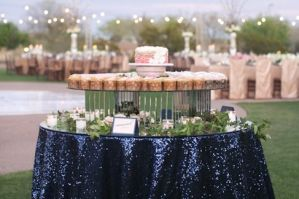Navy & Blush Color Scheme - Inspiration Board - Calluna Events, love the rose gold chair covers in the background