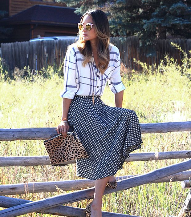 Jamie Chung in a geo printed Tinley Road midi skirt // #Celebrity #Trends