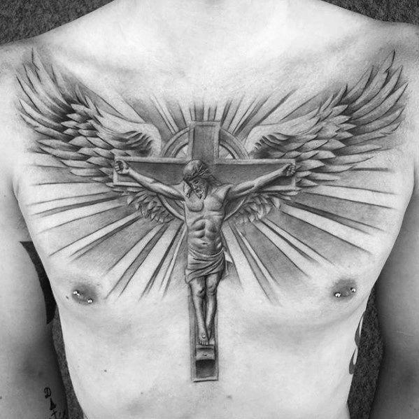 Awesome Guys Jesus Christ On Cross With Wings And Sun Rays Chest Tattoo Tattoosmensches Tatuaje De Cristo Tatuaje De Cruz Con Alas Disenos De Tatuaje Con Cruz