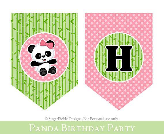 Panda 3rd Birthday Banner Girl 3rd Birthday by SugarPickleParty