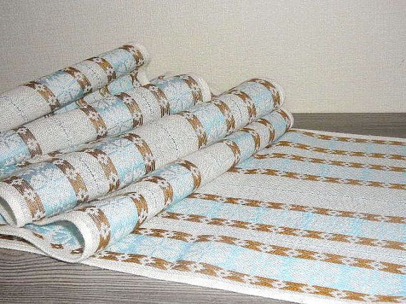 RESERVED Swedish Scandinavian Table Runner / Cloth Cottage Chic Light Blue Brown White Striped Wool/Linen Woven Floral/ Snowflakes @49
