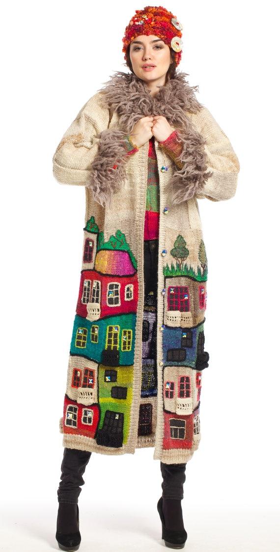 HUNDERTWASSER handmade knitted coat for women