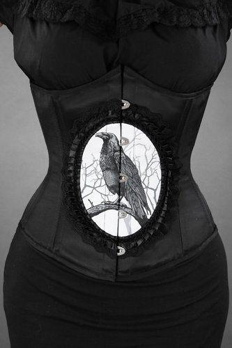 Dark Raven Cameo Black Satin Underbust Corset by Restyle