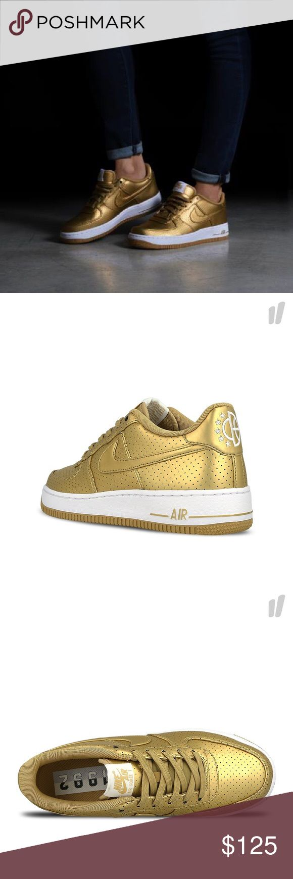 NIKE WOMENS AIR FORCE 1 LV8 ALL GOLD SHOES Shoes are a size 6 youth. Which is a women's size 7.5. I posted a sizing chart for your convenience. Brand new without box. 100% authentic Nike Shoes Sneakers
