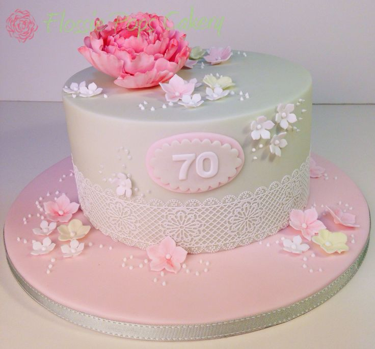 Vintage peony & lace 70th birthday cake - design based on picture found on Pinterest, execution by www.flossiepopscakery.co.uk