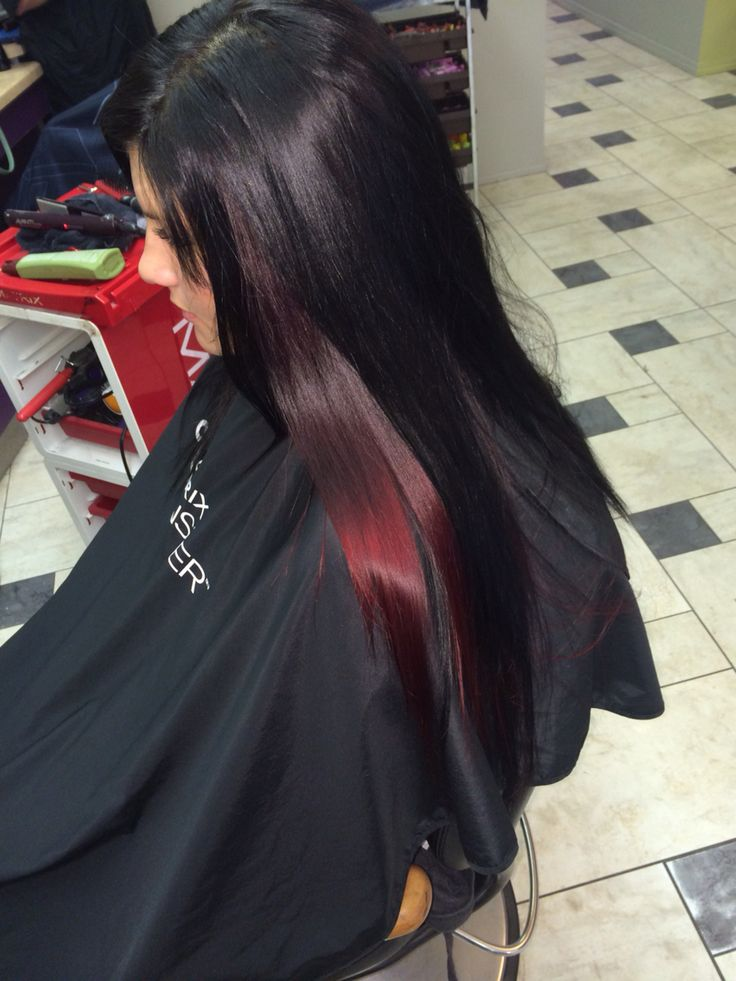 Long heathy hair. Red peek a boo. #mywork