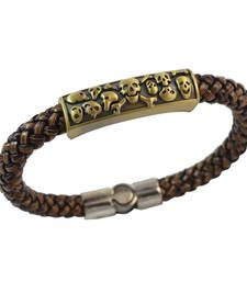 Buy Brown Skulls Leather Bracelet for Men Bracelet online
