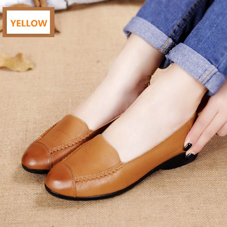 MUYANG MIE MIE Spring And Autumn Women Flats 2016 Fashion Genuine Leather  Flat Shoes Woman Soft