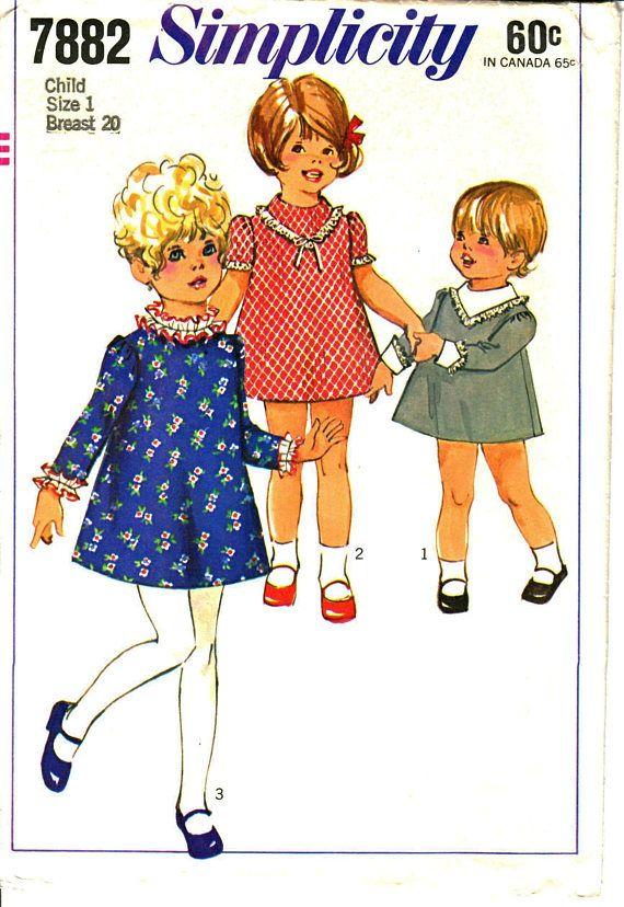 e49284f2c644 Simplicity 7882 Toddler Girl s A-Line High-Rounded Neckline A-Line ...