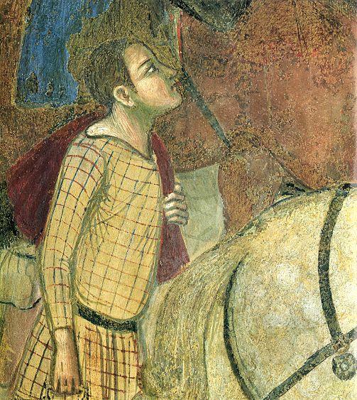 Ambrogio Lorenzetti - Viandanti  (Effetti del Buono Governo nel contado), dettaglio - affresco - 1338-1339 - Siena - Palazzo Pubblico, Sala dei Nove o Sala della Pace