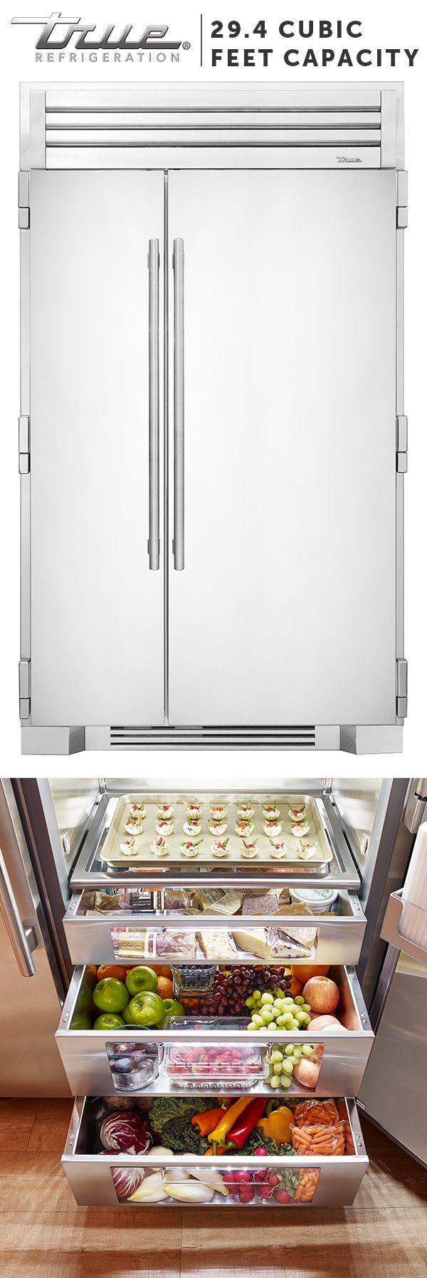 "Our 48"" side-by-side is more than 29.4 cubic feet of stylish, stainless steel refrigeration. This full-sized refrigerator gives high-end residential kitchens the look, work space, and performance of the best professional kitchens around the world."