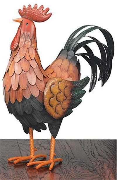 "This cute metal rooster will add a little country charm and personality to any home! Available in Three Sizes: Small 13.5""L x 10.75""HMedium 13""L x 15.75""HLarge 18""L x 20""H Features"