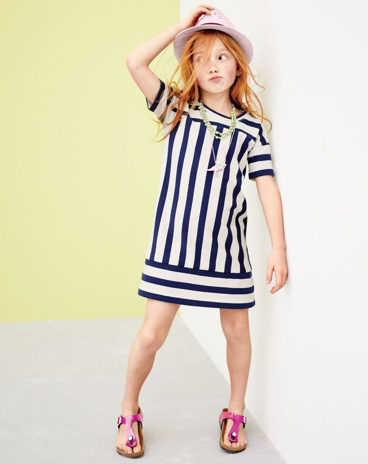 APR '15 Style Guide: J.Crew girls' switched-up stripe shift dress, straw eyelet hat, dinosaur necklace and Birkenstock Gizeh sandals in mirror pink.