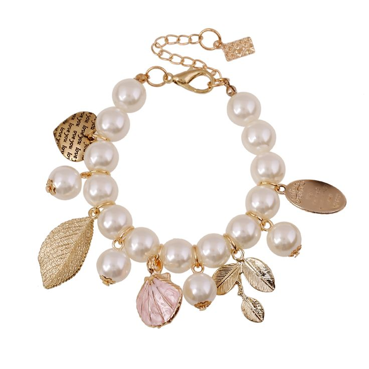 Shell leaf heart charm bracelets European popular casual beach jewelry strech resin pearl strand bracelet women hand accessories