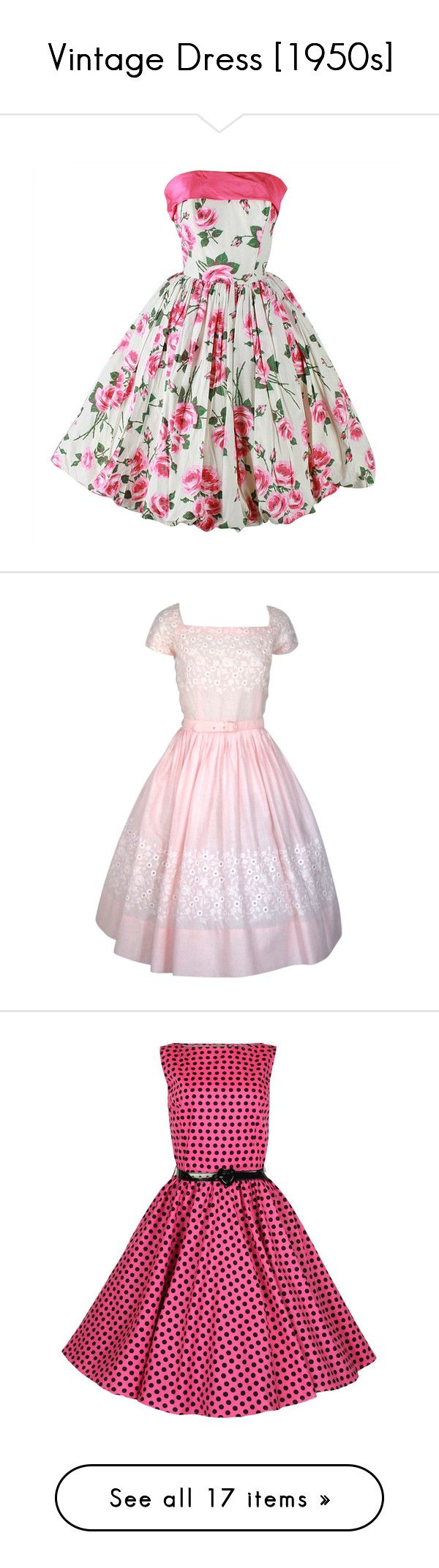 """""""Vintage Dress [1950s]"""" by years-of-summer ❤ liked on Polyvore featuring dresses, vestidos, short dresses, pink, short white dresses, vintage white dress, vintage pink dress, vintage mini dress, short pink dress and vintage dresses"""