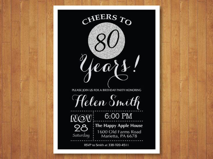 80th Birthday Invitation. Black and Silver Glitter. Cheers