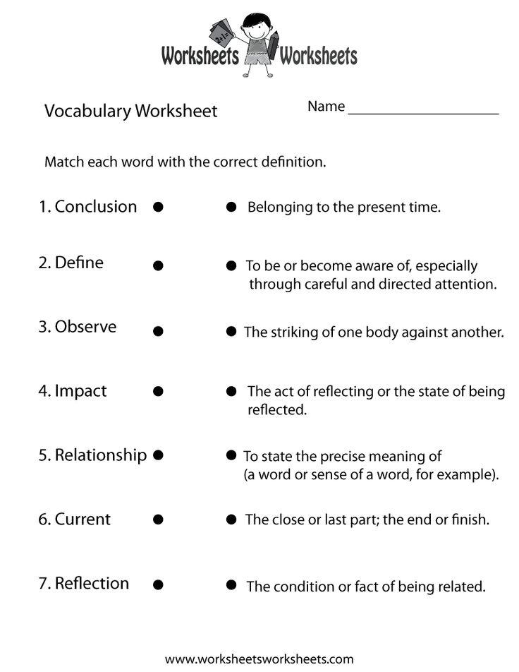 English Vocabulary Worksheet Vocabulary Worksheets 4th Grade Vocabulary Words Grammar Worksheets