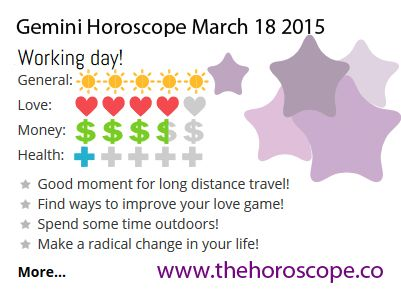 Working day for #Gemini on March 18th 2015 #horoscope ... http://www.thehoroscope.co/horoscope/Gemini-Horoscope-today-March-18-2015-2631.html