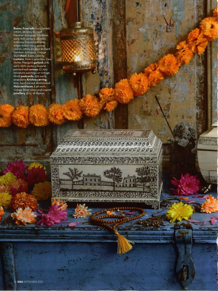 Homes & Antiques magazine featured our antique painted wooden screen, marigold garland, soapstone Krishna statue, floor cushions, Japa Mala prayer bead necklace, antique tribal silver necklace and antique blue painted chest... Pop in and see what other treasures we have!