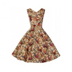 'Ophelia' Vintage 1950's Floral Beige Spring Garden Party Picnic Dress