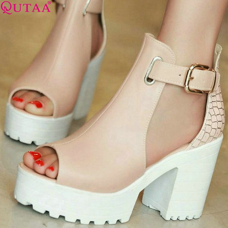 QUTAA Señoras de La Moda de Verano Zapatos De Tacón Cuadrado de cuero de LA PU PatChwork Peep Toe Mujer Bombas Para Mujer Zapatos De Boda Tamaño 34-43