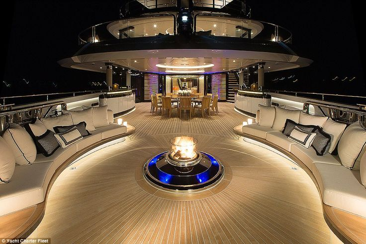 A fire pit with an integrated waterfall has been installed on the aft deck to provide just the right amount of heat for guests who want to enjoy their meals al freso at the dining table just a short distance away