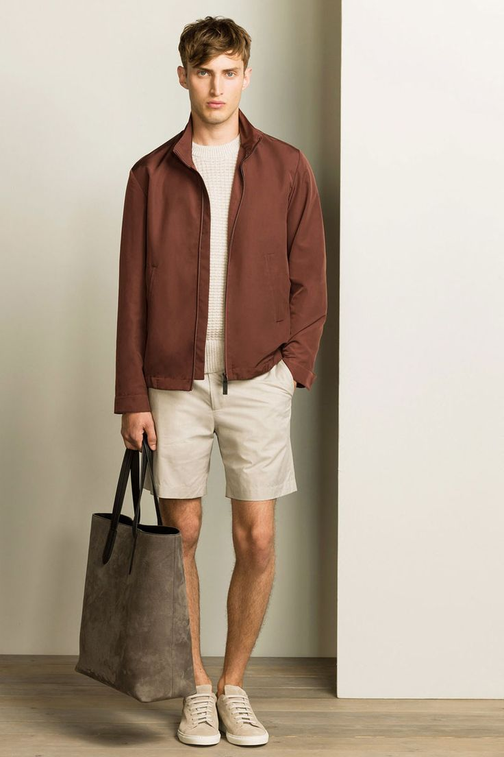 Such luxe warm weather style on display, from the suede bomber to the leather sneakers and striped T-shirt.