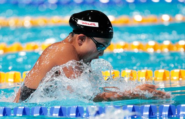 Kanako Watanabe of Japan competes during the Swimming Women's 100m Breaststroke preliminaries heat five on day ten of the 15th FINA World Championships at Palau Sant Jordi on July 29, 2013 in Barcelona, Spain.