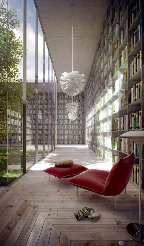 """Library with a glass walled-courtyard... LOVE this idea! But it reminds me too much of the movie, """"When a Stranger Calls"""""""