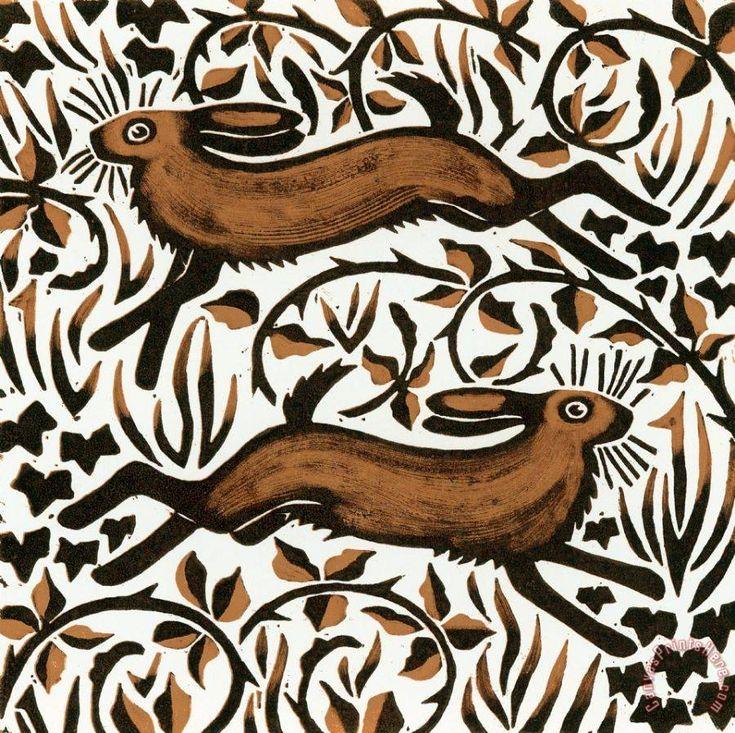 Bramble Hares - woodcut 2001 - Nat Morley, U.K.: