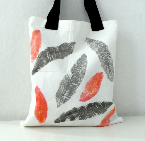 Feathers Tote Bag Hand stenciled  hand paint by ShebboDesign, $30.00