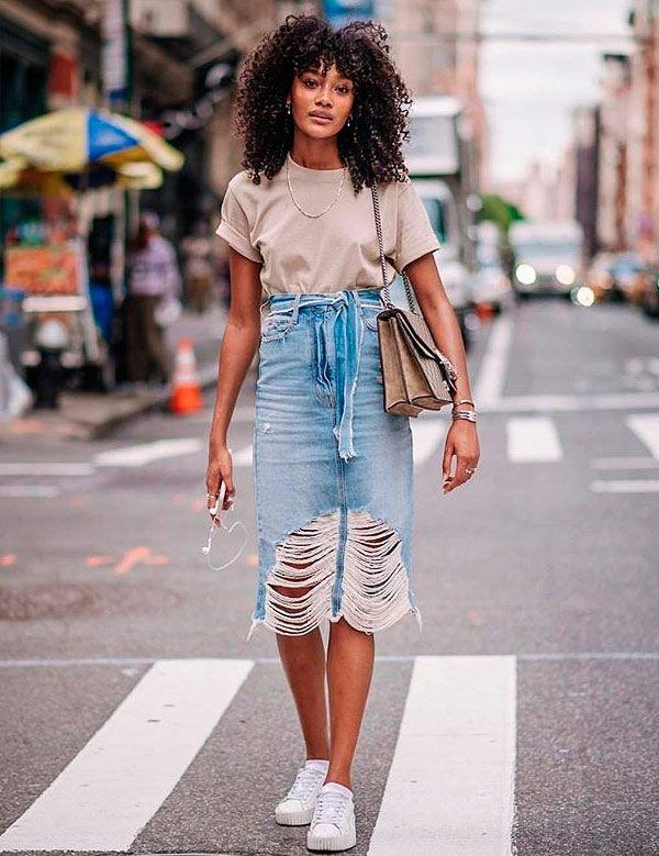 cheyenne maya t shirt basica saia jeans destroyed saia jeans
