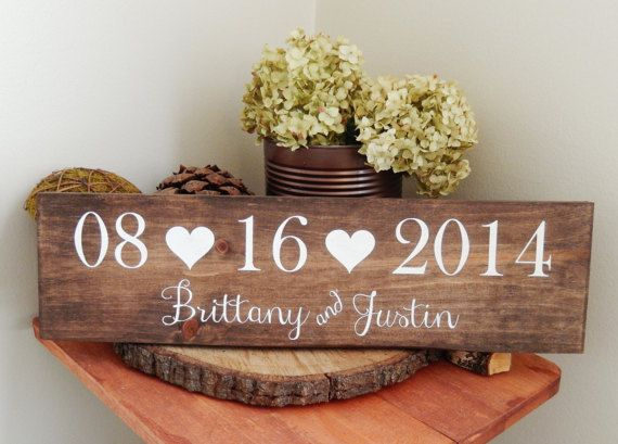 Wedding Date Sign Bridal Shower Gift Save the von CypressandWhim