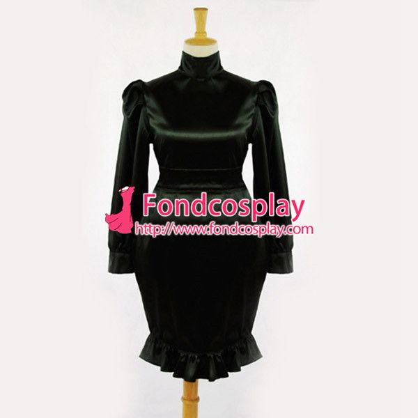 Free Shipping Sissy Maid Gouvernante Fetish Black Satin Cosplay Costume Tailor-made