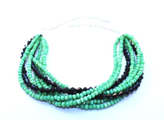 Green and black beaded multistrand by NotYourMomsJewellery on Etsy