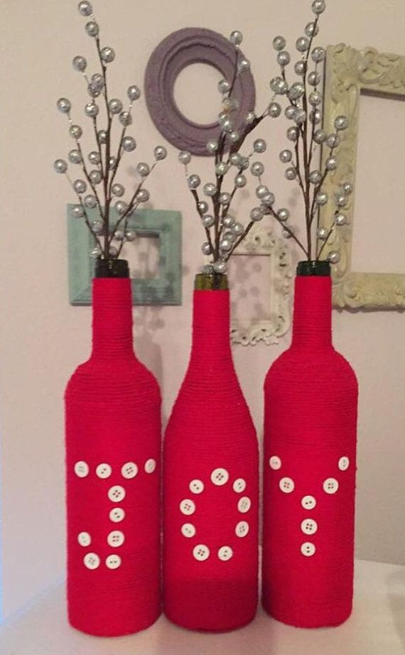 Joy wine bottles Christmas decor Christmas por PeavyPieces en Etsy
