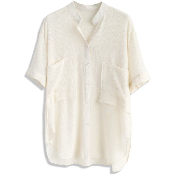 Chicwish Loose Fit Leisure Smock Top in Beige (9.220 HUF) ❤ liked on Polyvore featuring tops, beige, loose tops, smocked top, cut loose tops, beige top and loose fitting tops