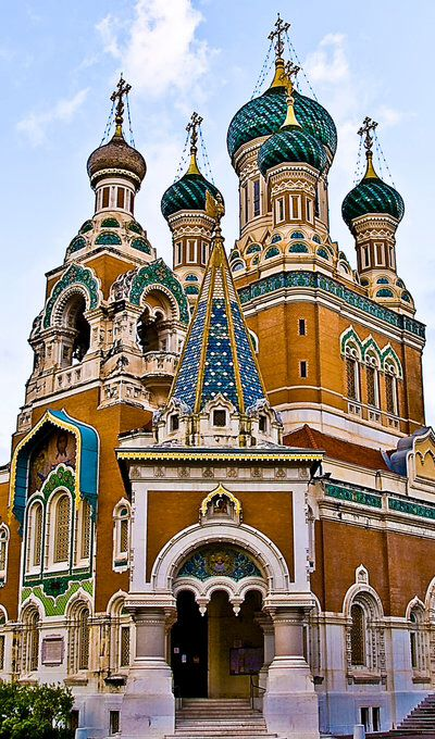 The St Nicholas Orthodox Cathedral, Nice, France, was opened in 1912. Since the mid-19th century, Russian nobility visited Nice and the French Riviera, following the fashion established decades earlier by the English upper class and nobility.