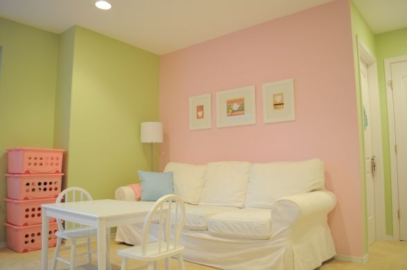 The colors are pottery barn colors benjamin moore potpourri green and pink lace love this - Colors for girls ...