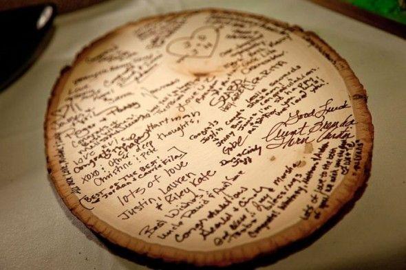 Wood guestbook idea for weddings l Eine Baumscheibe als Gästebuch bei Hochzeiten!