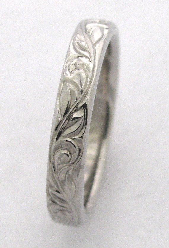 Hand Engraved Vine and Leaf 3mm 14k White Gold  Band Made to Order. $445.00, via Etsy.