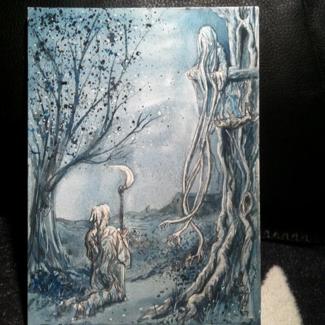 Twilight serenade. Watercolor on board.