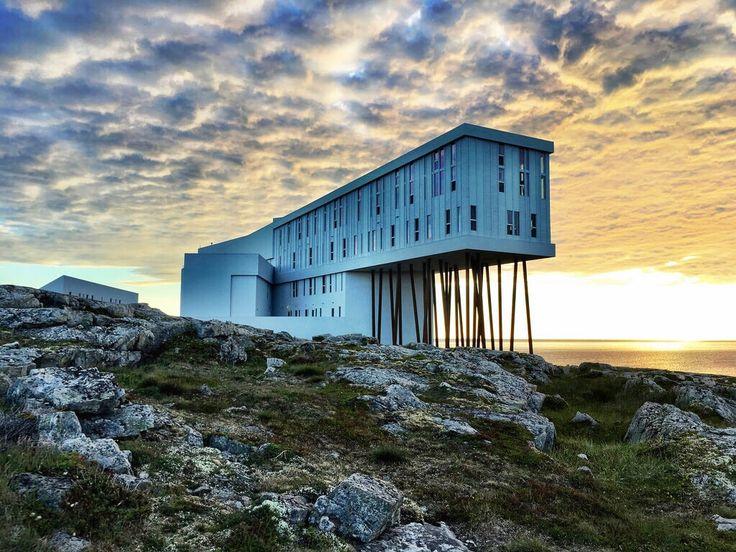 Remarkable Fogo Island Inn in Newfoundland at Sunset