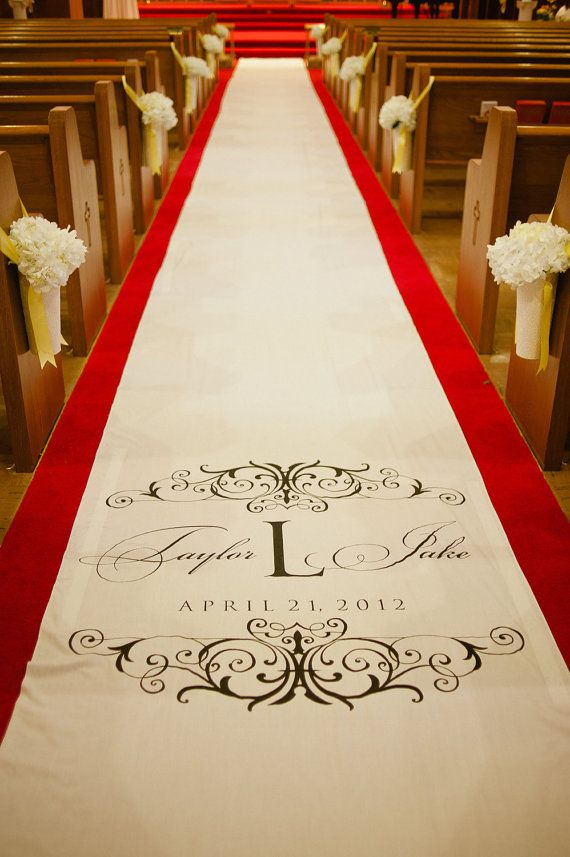 Monogram Wedding Aisle Runner on Real Cloth that Won't Rip or Tear. $215.00, via Etsy.
