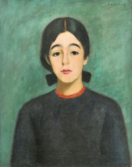 Czigány Dezső (1883-1938)  Masnis lány zöld szobában  Olaj, vászon, 63,5x54 cm