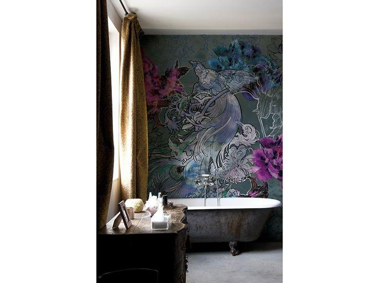 12.carta-da-parati-in-bagno-rivestimento-a-parete-uccello-fiore-viola