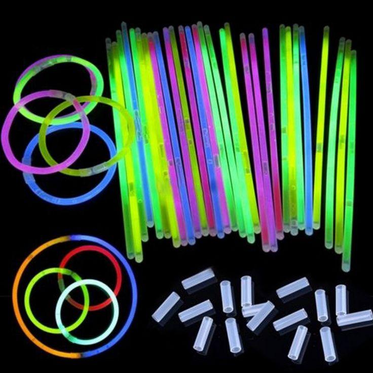 "50Pcs/lot 8"" Mix Glow Stick Light Bracelets Necklace Birthday Festive Party Vocal Concert Olympics Supplies 3-5hours Lighting"