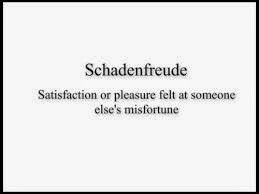 Schadenfreude: (n) pleasure derived by someone from another person's misfortune.